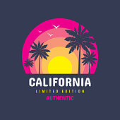 California - concept badge vector illustration for t-shirt and other design print productions. Summer, sunset, palms, surfing, sea waves. Tropical paradise. Long beach. Limited edition. Authentic.