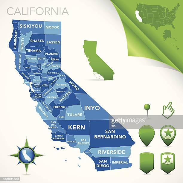 california county karte - kalifornien stock-grafiken, -clipart, -cartoons und -symbole