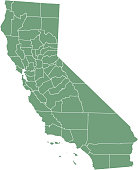 California county map vector outline illustration green background. California state of USA county map. Map of California county state of United States of America