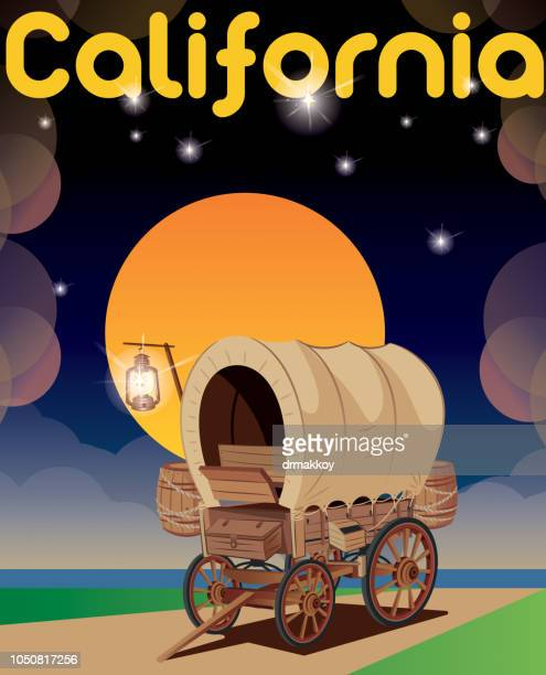 california, covered wagon - long beach california stock illustrations, clip art, cartoons, & icons