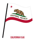California (U.S. State) Flag Waving Vector Illustration on White Background. Flag of the United States of America.