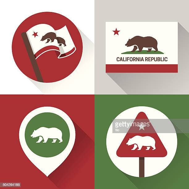 california icons and symbols - california stock illustrations