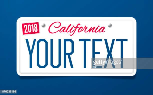 california license plate - california stock illustrations, clip art, cartoons, & icons