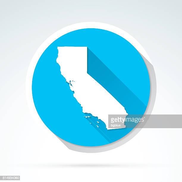 california map icon, flat design, long shadow - long shadow design stock illustrations