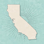 California map in retro vintage style - Old textured paper
