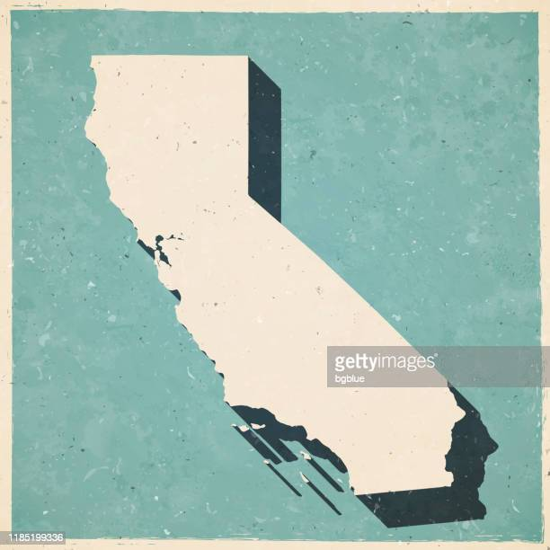california map in retro vintage style - old textured paper - california stock illustrations
