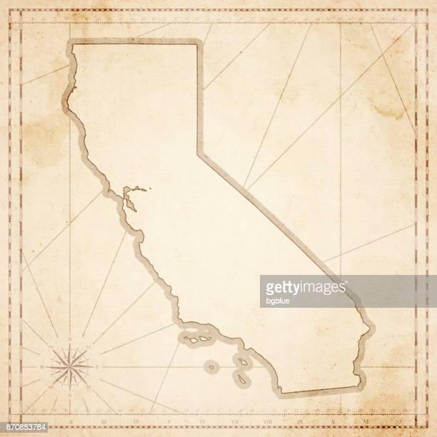 レトロなビンテージ スタイルの古いテクスチャ紙のカリフォルニア マップ - 大昔の点のイラスト素材/クリップアート素材/マンガ素材/アイコン素材