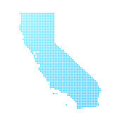 California map of blue dots on white background