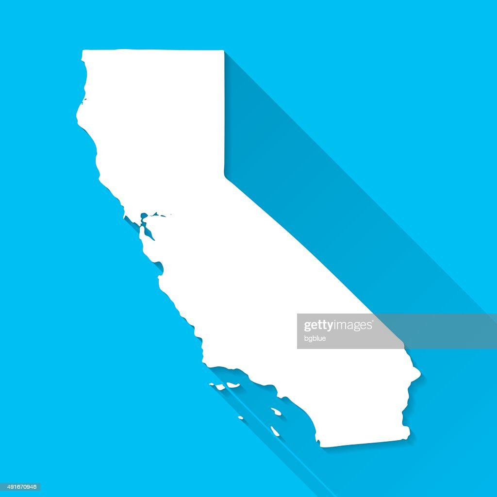 California Map on Blue Background, Long Shadow, Flat Design