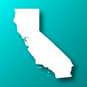 California map on Blue Green background with shadow