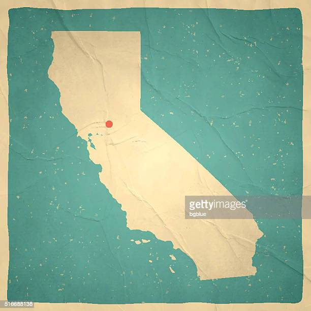 California Map on old paper - vintage texture