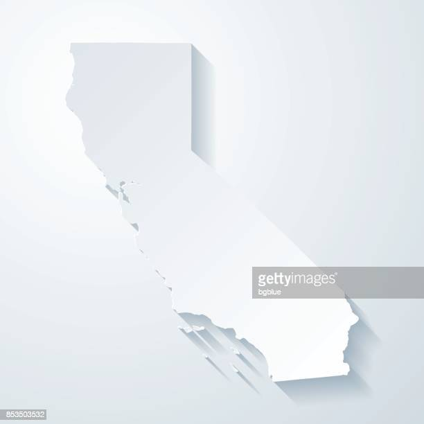 California map with paper cut effect on blank background