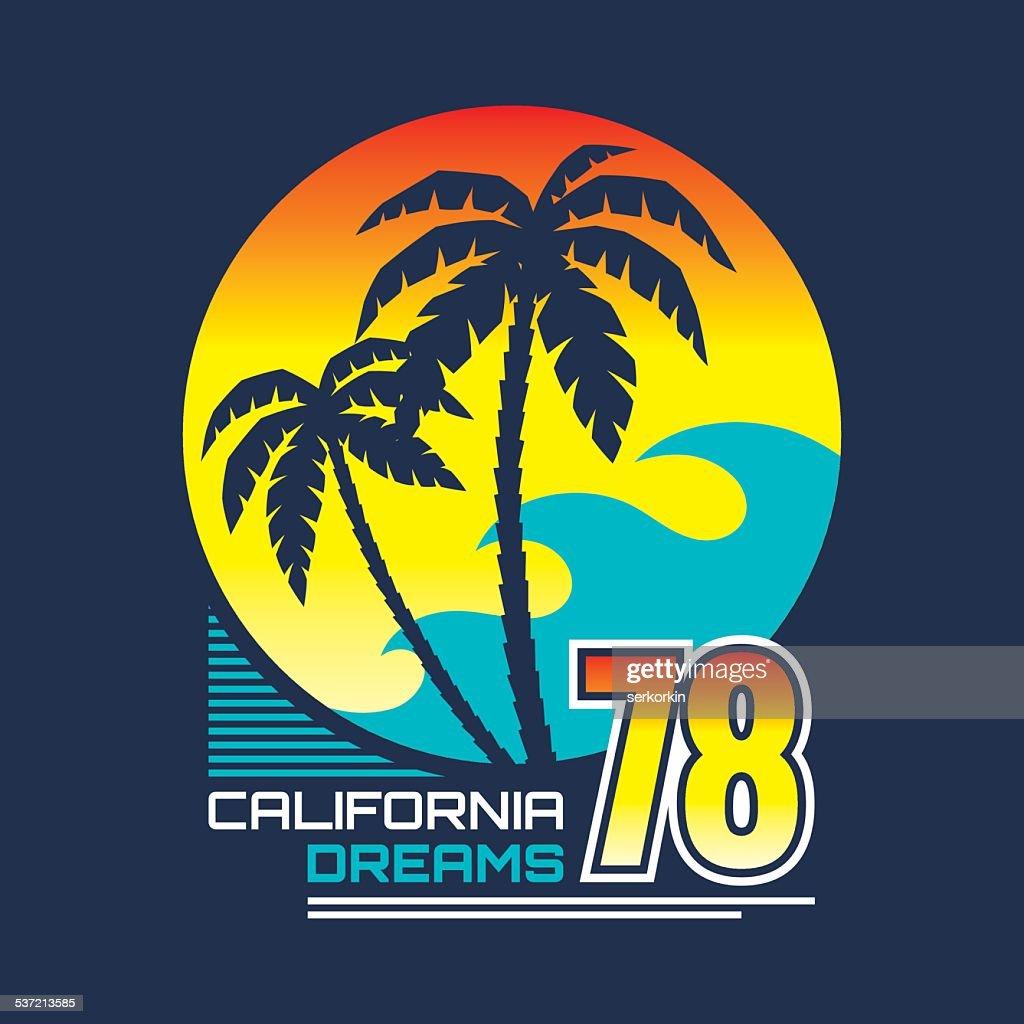 California nights - vintage illustration concept