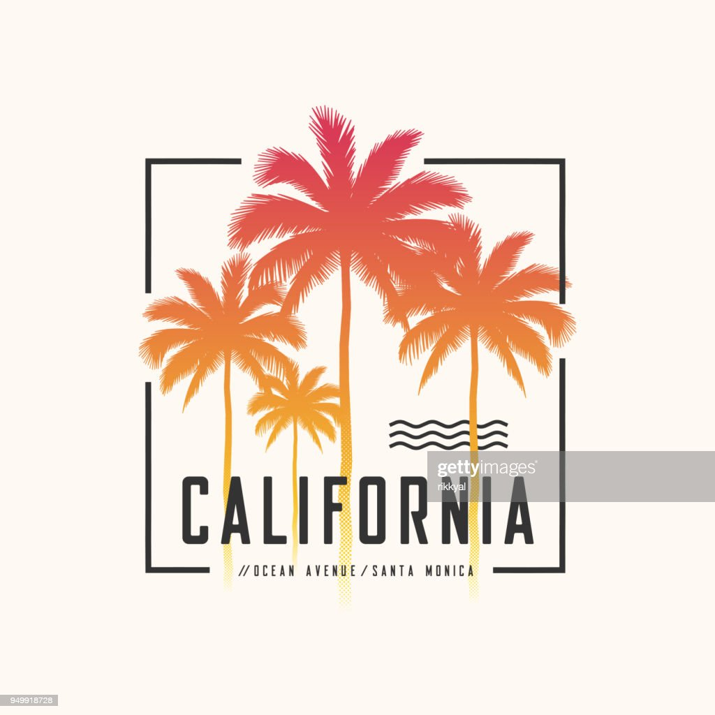 California Ocean Avenue tee print with palm trees, t shirt design, typography, poster.
