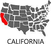 California on USA map