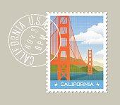 California postage stamp design. Vector illustration of golden gate bridge.