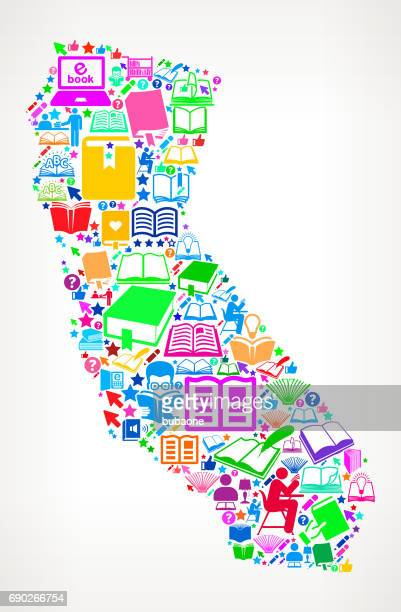 California Reading Books and Education Vector Icons Background