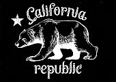 california republic bear in dirty texture style texture are easily to remove to get clean version