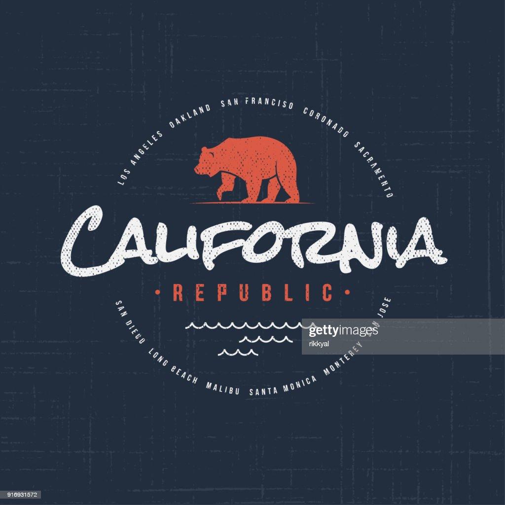 California republic. T-shirt and apparel design