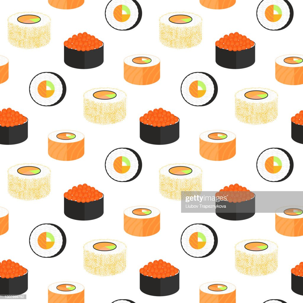 California rolls wrapped in nori. Philadelphia with caviar of flying fish. Japanese traditional cuisine seamless pattern