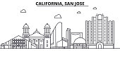 California San Jose architecture line skyline illustration. Linear vector cityscape with famous landmarks, city sights, design icons. Landscape wtih editable strokes
