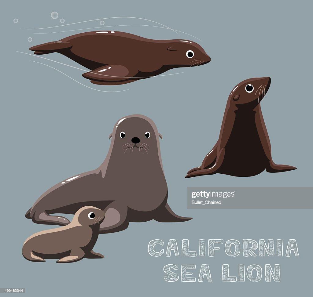 California Sea Lion Cartoon Vector Illustration