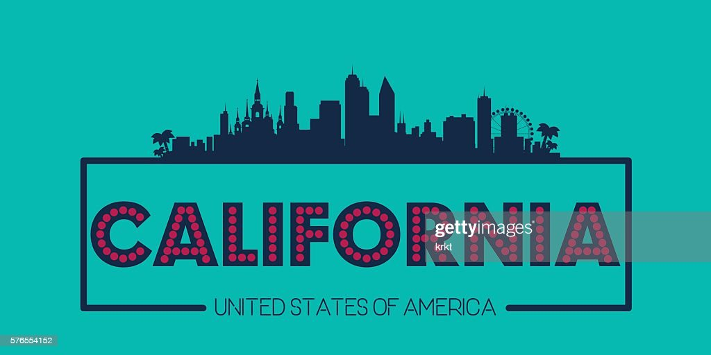 California skyline silhouette poster vector