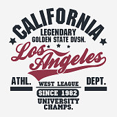 California sport wear T-shirt Typography design. Vector