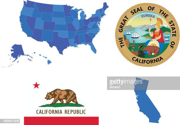 illustrations, cliparts, dessins animés et icônes de ensemble de l'état de californie - california