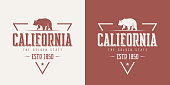 California state textured vintage vector t-shirt and apparel design, typography, print, logo, poster.