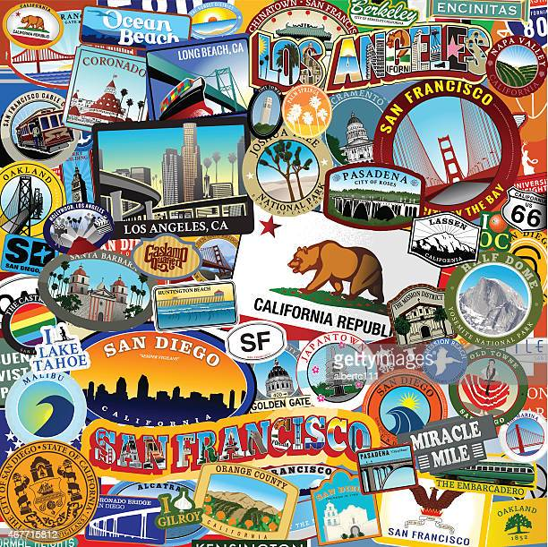 california super sticker collage - travel tag stock illustrations, clip art, cartoons, & icons