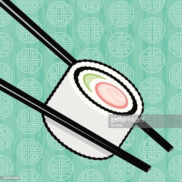 california sushi roll - chopsticks stock illustrations, clip art, cartoons, & icons