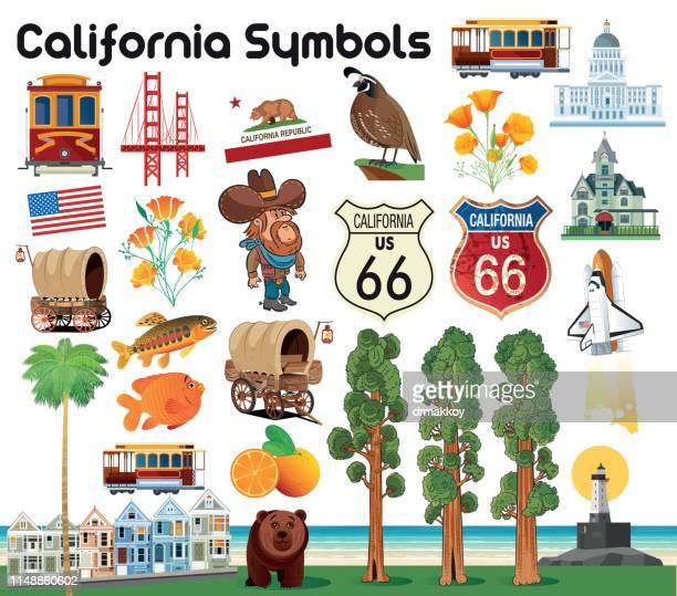 california symbols - long beach california stock illustrations, clip art, cartoons, & icons
