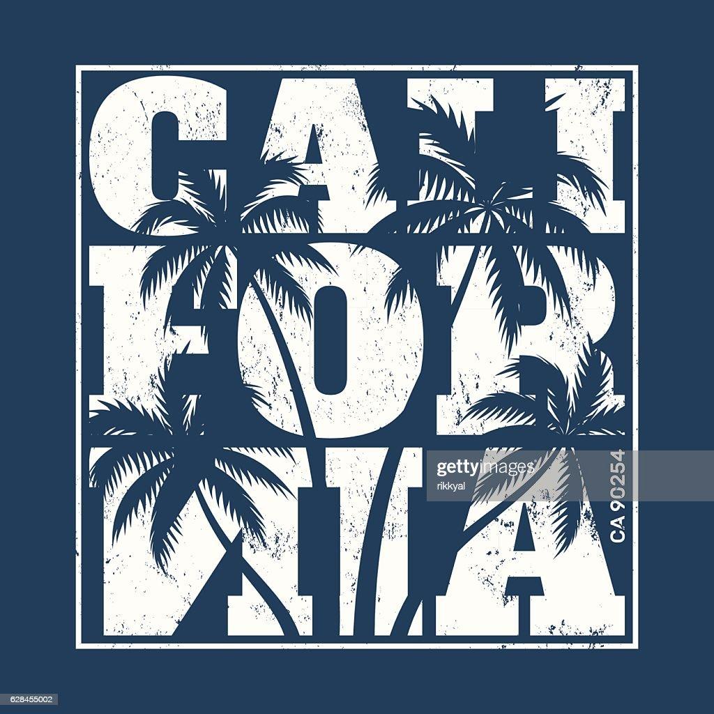 California tee print with palm trees.