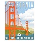 California travel poster. Vector illustration of golden gate bridge.