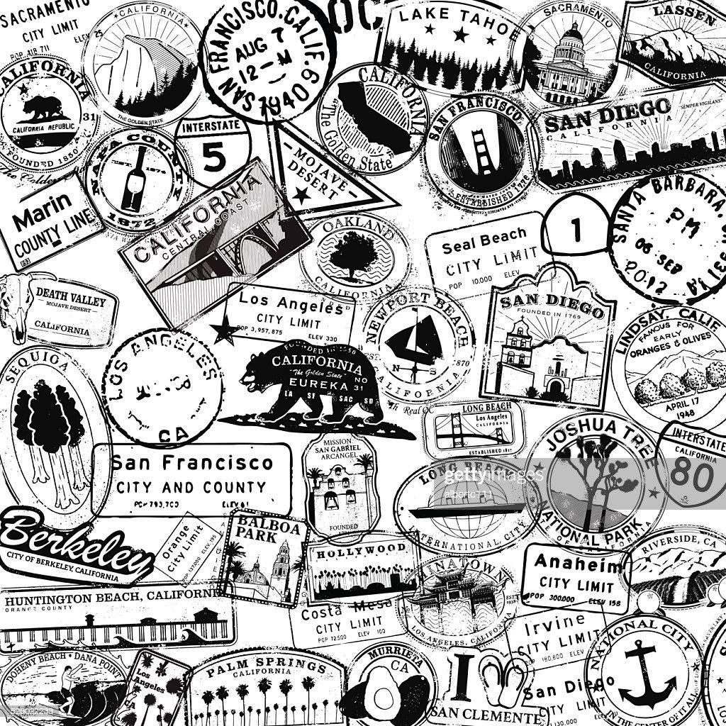 California Travel Stamp Background : stock illustration
