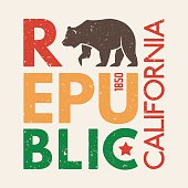California t-shirt with grizzly bear. T-shirt graphics, design
