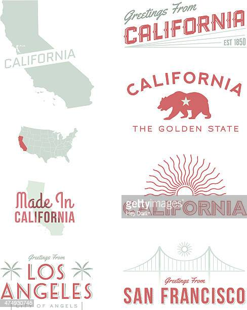 illustrations, cliparts, dessins animés et icônes de typographie de californie - california
