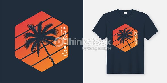 California Venice Beach T Shirt And Arel Design Typography Print Vector Ilration