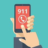 Call 911, emergency call. Hand holding smartphone, touching call button