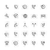 Call and Ring Vector Line Icons. Contains Emergency Call, Worldwide, Ring, Voicemail, Dialpad, Received, Split, Merge, and other telephone.Editable Stroke. Pixel Perfect.