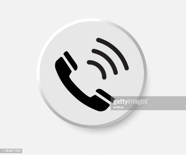 illustrazioni stock, clip art, cartoni animati e icone di tendenza di pulsante chiama - call center