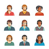 Call center agents flat avatars
