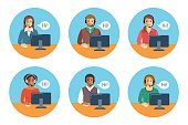 Call center agents team at desks flat icons