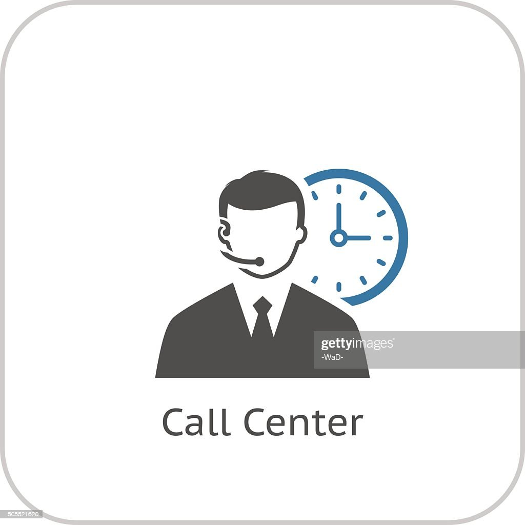 Call Center Icon. Flat Design.