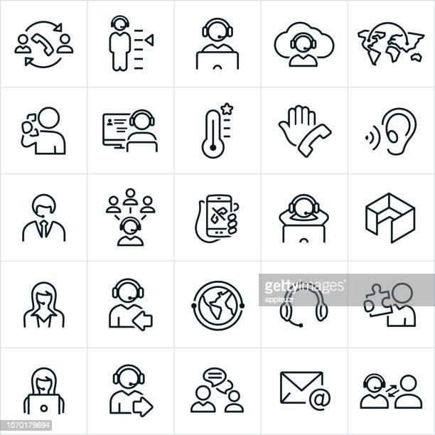 illustrazioni stock, clip art, cartoni animati e icone di tendenza di icone del call center - call center