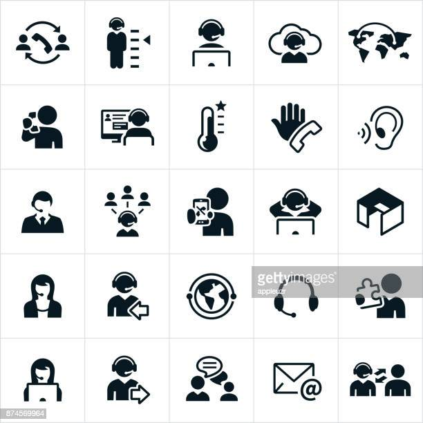 call center icons - customer service representative stock illustrations, clip art, cartoons, & icons