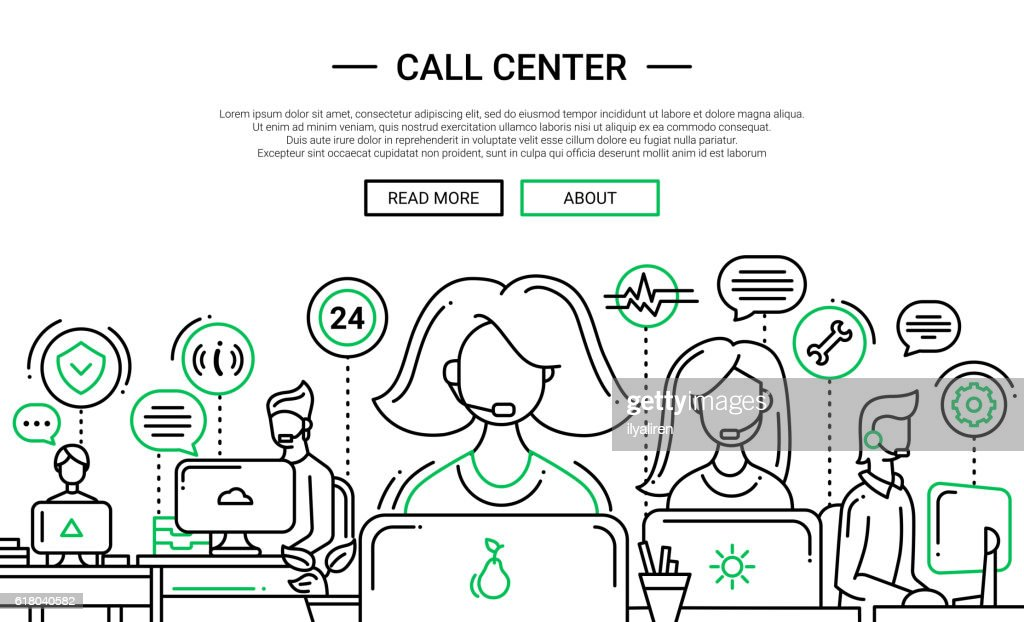 Call Center - line design website banner temlate