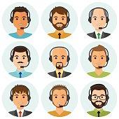 Call center men agents avatars