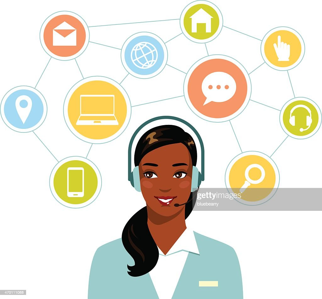 Call center online customer support african american woman operator